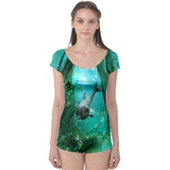 Wonderful Dolphin Short Sleeve Leotard