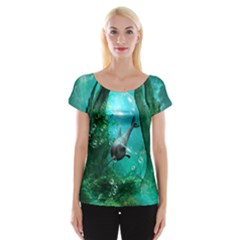 Wonderful Dolphin Women s Cap Sleeve Top