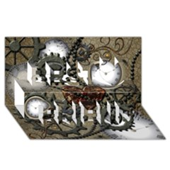 Steampunk With Heart Best Friends 3D Greeting Card (8x4)