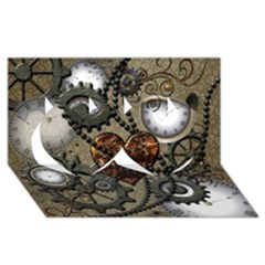 Steampunk With Heart Twin Hearts 3D Greeting Card (8x4)
