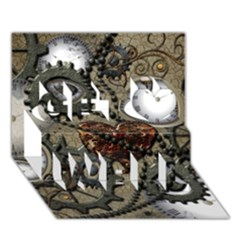Steampunk With Heart Get Well 3d Greeting Card (7x5)