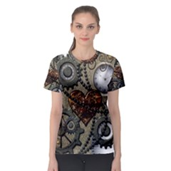 Steampunk With Heart Women s Sport Mesh Tees