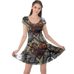 Steampunk With Heart Cap Sleeve Dresses