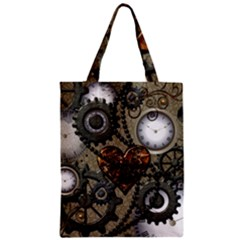 Steampunk With Heart Zipper Classic Tote Bags