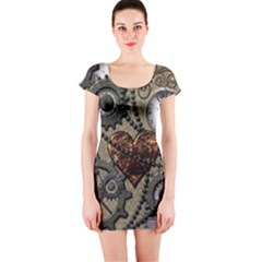 Steampunk With Heart Short Sleeve Bodycon Dresses