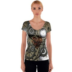Steampunk With Heart Women s V-Neck Cap Sleeve Top