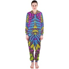 Crazy Beautiful Abstract Animal print  Hooded Jumpsuit (Ladies)