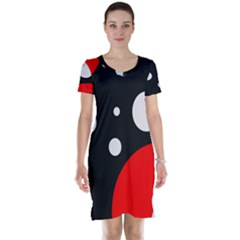 Huge Black Red White Polka Dot  Short Sleeve Nightdresses