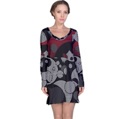 Trippy Black&white Red Abstract  Long Sleeve Nightdresses