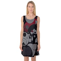 Trippy Black&white Red Abstract  Sleeveless Satin Nightdresses