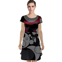 Trippy Black&white Red Abstract  Cap Sleeve Nightdresses
