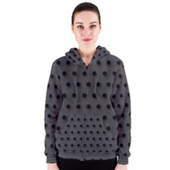 Black and Grey Polka-dot  Women s Zipper Hoodies
