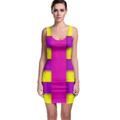 Florescent Pink Yellow Abstract  Bodycon Dresses