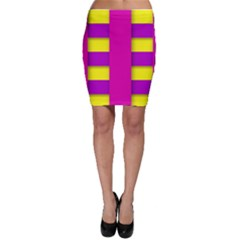 Florescent Pink Yellow Abstract  Bodycon Skirts