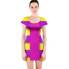 Florescent Pink Yellow Abstract  Short Sleeve Bodycon Dresses