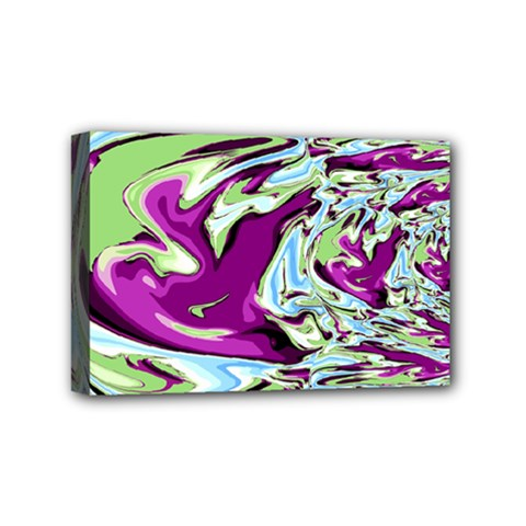 Purple, Green, And Blue Abstract Mini Canvas 6  X 4