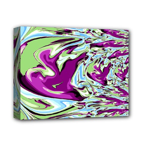 Purple, Green, and Blue Abstract Deluxe Canvas 14  x 11