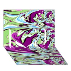 Purple, Green, and Blue Abstract I Love You 3D Greeting Card (7x5)