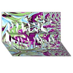 Purple, Green, and Blue Abstract Happy Birthday 3D Greeting Card (8x4)