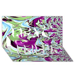 Purple, Green, and Blue Abstract Best Friends 3D Greeting Card (8x4)