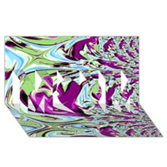 Purple, Green, and Blue Abstract MOM 3D Greeting Card (8x4)