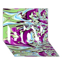 Purple, Green, And Blue Abstract Boy 3d Greeting Card (7x5)