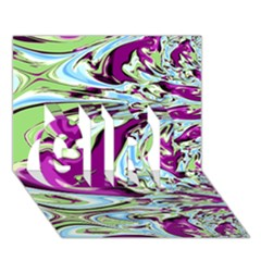 Purple, Green, and Blue Abstract GIRL 3D Greeting Card (7x5)