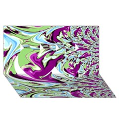 Purple, Green, and Blue Abstract Twin Hearts 3D Greeting Card (8x4)