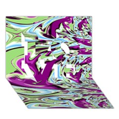 Purple, Green, and Blue Abstract LOVE 3D Greeting Card (7x5)