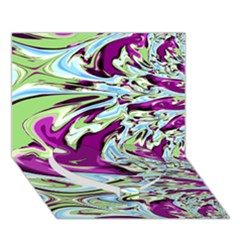 Purple, Green, and Blue Abstract Heart Bottom 3D Greeting Card (7x5)