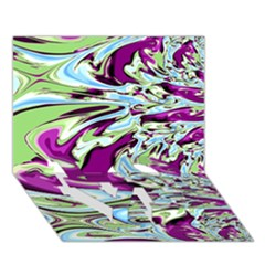 Purple, Green, and Blue Abstract LOVE Bottom 3D Greeting Card (7x5)