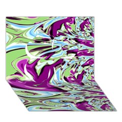 Purple, Green, and Blue Abstract Clover 3D Greeting Card (7x5)