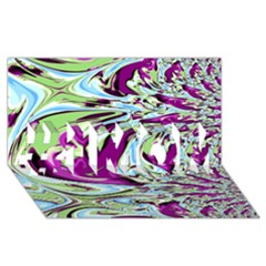 Purple, Green, and Blue Abstract #1 MOM 3D Greeting Cards (8x4)