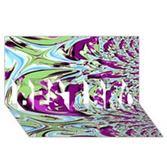 Purple, Green, and Blue Abstract BEST BRO 3D Greeting Card (8x4)