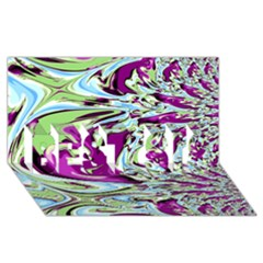 Purple, Green, and Blue Abstract BEST SIS 3D Greeting Card (8x4)