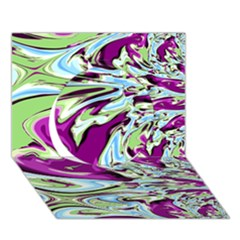 Purple, Green, and Blue Abstract Circle 3D Greeting Card (7x5)