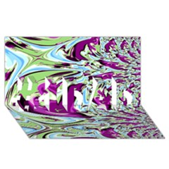 Purple, Green, and Blue Abstract #1 DAD 3D Greeting Card (8x4)