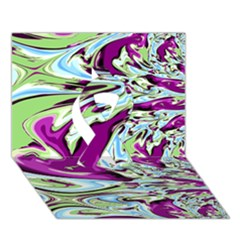 Purple, Green, and Blue Abstract Ribbon 3D Greeting Card (7x5)