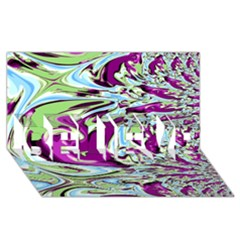 Purple, Green, and Blue Abstract BELIEVE 3D Greeting Card (8x4)