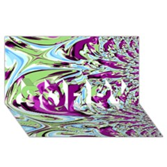 Purple, Green, and Blue Abstract SORRY 3D Greeting Card (8x4)