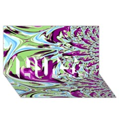 Purple, Green, And Blue Abstract Hugs 3d Greeting Card (8x4)