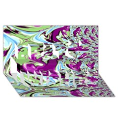 Purple, Green, and Blue Abstract Best Wish 3D Greeting Card (8x4)