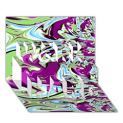 Purple, Green, and Blue Abstract WORK HARD 3D Greeting Card (7x5)
