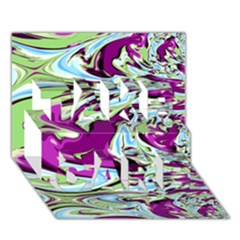 Purple, Green, and Blue Abstract TAKE CARE 3D Greeting Card (7x5)