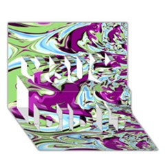 Purple, Green, And Blue Abstract You Did It 3d Greeting Card (7x5)