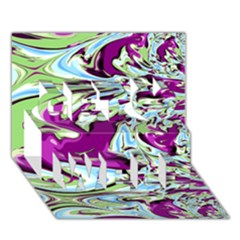 Purple, Green, and Blue Abstract Get Well 3D Greeting Card (7x5)