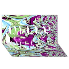 Purple, Green, and Blue Abstract Merry Xmas 3D Greeting Card (8x4)