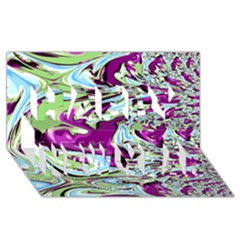 Purple, Green, and Blue Abstract Happy New Year 3D Greeting Card (8x4)