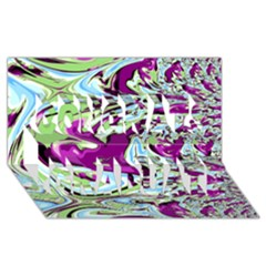 Purple, Green, And Blue Abstract Congrats Graduate 3d Greeting Card (8x4)
