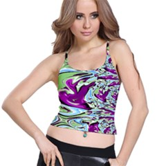 Purple, Green, And Blue Abstract Spaghetti Strap Bra Tops